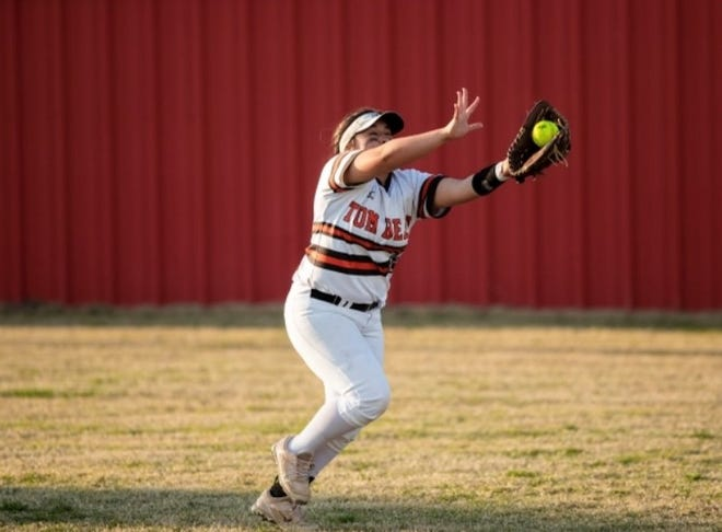 Tom Bean's Gabby Narro makes a catch during the Lady Tomcats' loss to Trenton in District 15-2A action.