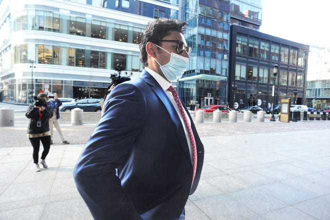 Former Fall River Mayor Jasiel Correia, arrives at John Joseph Moakley federal couthouse Tuesday, April  20, 2021 in Boston. Correia's trial on twenty four charges of fraud, extortion and corruption is set to begin.