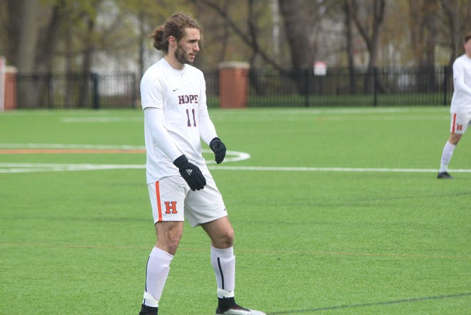 Hope College men's soccer team defeated Adrian in the MIAA Tournament on Tuesday, April 20, 2021