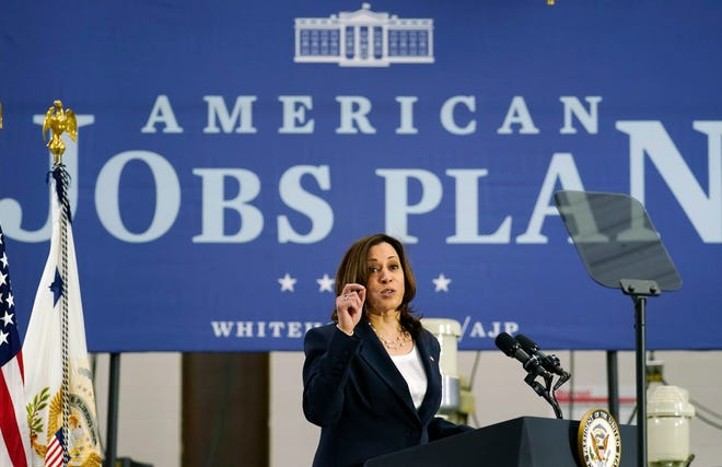 Vice President Kamala Harris speaks at Guilford Technical Community College April 19 in Jamestown about the Biden administration's American Jobs Plan. (AP Photo/Carolyn Kaster)