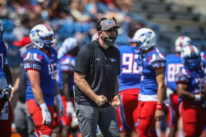 Hutchinson Community College head coach Drew Dallas yells instructions against Arkansas Baptist at Gowans Stadium.