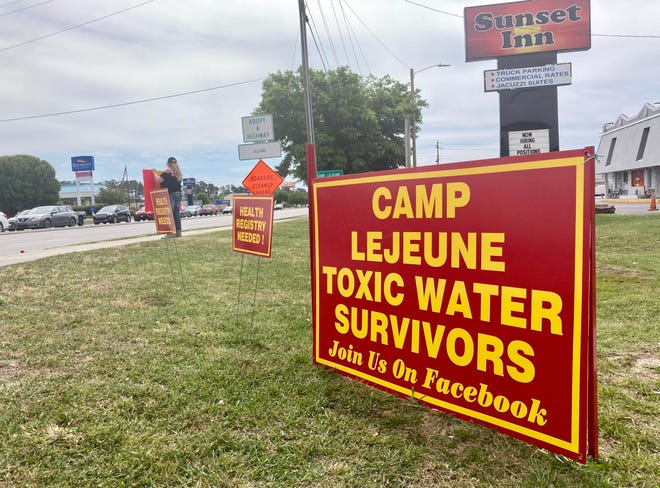 Camp Lejeune toxic water survivors held an outreach event in Jacksonville, N.C., Tuesday, April 20, 2021.