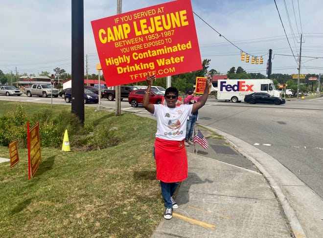 J. Denise Cromwell, who lost her husband, Sgt. Lamar Cromwell, to cancer in 2020, attended a Camp Lejeune toxic water survivors outreach event held in Jacksonville, N.C., Tuesday, April 20, 2021.