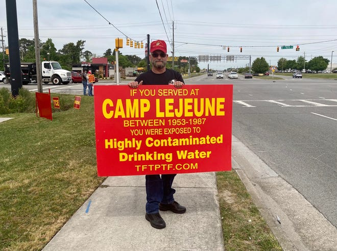 Camp Lejeune veteran Floyd Franks of Michigan at a Camp Lejeune toxic water survivors outreach event held in Jacksonville, N.C., Tuesday, April 20, 2021.
