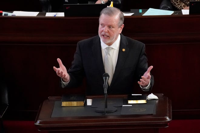 Senate President Pro Tempore Phil Berger, R-Rockingham speaks after being sworn in during the Jan. 13, 2021, opening session of the North Carolina General Assembly in Raleigh. (AP Photo/Gerry Broome, File)