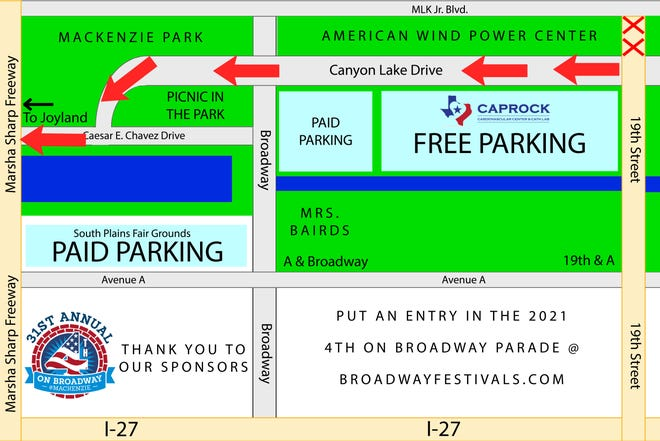 This year's 4th on Broadway Sonic parade starts at 19th Street and Canyon Lake Drive and stretches northward through Mackenzie Park.