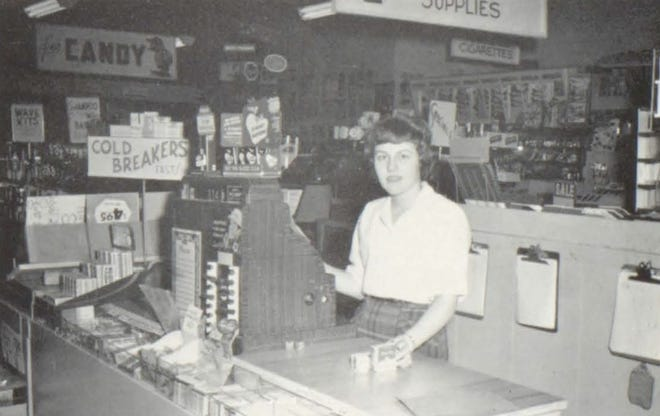Pictures of the Past is from the 1960 Lincoln Community High School yearbook. The photo shows Virginia Maurer working at Boss's Drug Store. High school students taking distributive education under the guidance of Harold Smith were able to acquire a better understanding of the working world. Local businessmen employ the students on a part-time basis, training them in the area of retail merchandising.
