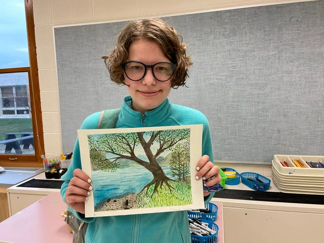 "Churchville-Chili Middle School artist Annabelle Houlihan with ""Watercolor Landscape."""