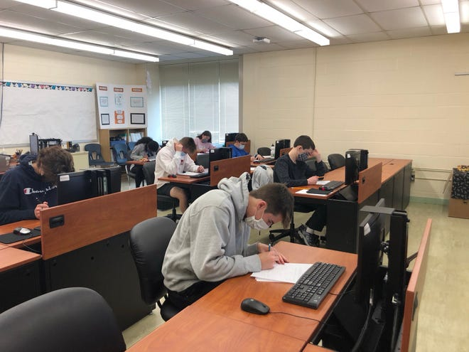 Webster mathletes participate in the New York State Math League Meet.