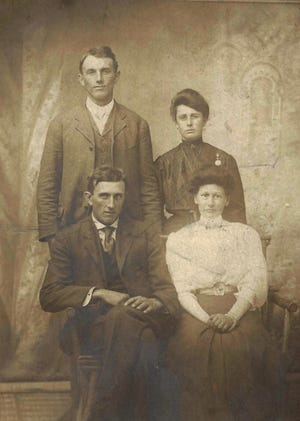 This photo is of two Niedermeier brothers and their wives, all of whom grew up at Frey's Corners. Seated are Benjamin and Anna (Frey) Niedermeier; standing are George and Emma (Barron) Niedermeier. Both couples were married in 1911. Photo was taken in the 1910's.