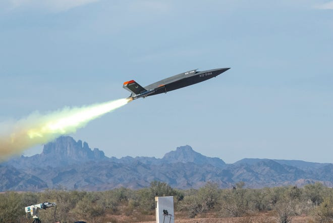 A Kratos XQ-58A Valkyrie launches at the Yuma (Arizona) Proving Grounds in this photo from 2020. Micro Systems Inc. is producing command and control systems for the unmanned combat aircraft.