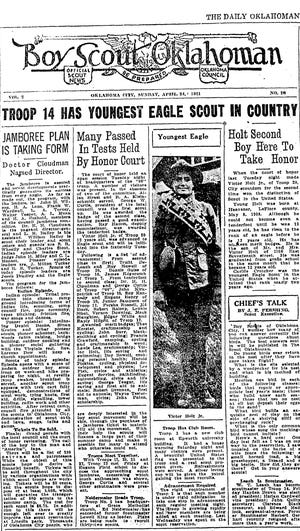 Victor Holt Jr. was featured in The Daily Oklahoman on April 24, 1921, as the youngest Eagle Scout in the United States. He was 12 years old