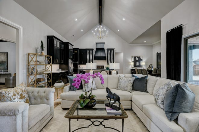 Living room of French Construction's entry in the Parade of Homes Spring Festival at 2925 Gold Finch Drive in Edmond's Fallbrook addition.
