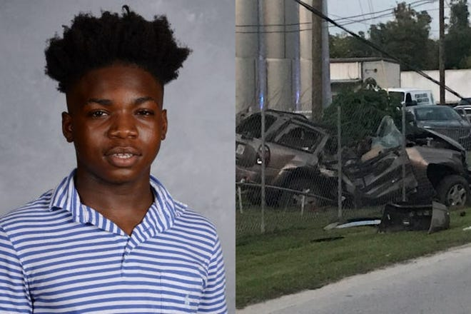 Ocala Police were told Javariy Wilson, 14, took out the trash Monday evening but never returned. He crashed his grandmother's vehicle and died nearby. (inset provided)