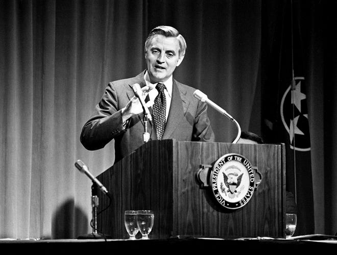 Vice President Walter Mondale speaks at a luncheon at the Opryland Hotel on July 19, 1979,  in Nashville, Tennessee. Carleton Varney of Dorothy Draper & Co. met the vice president and his family when he served as a decorating consultant in the Carter White House, and also carried out decorating projects for the Mondales.