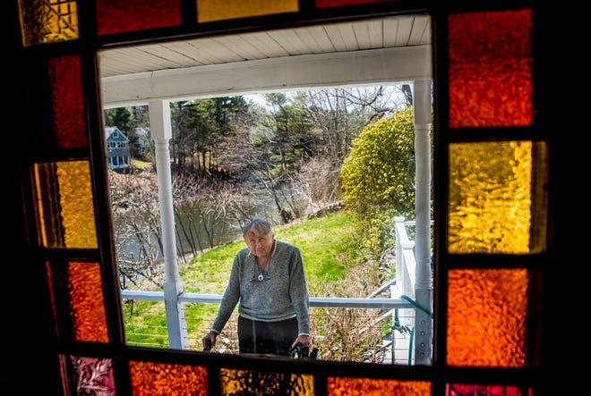 "Martha Kowal, 76, seen at her home in Kittery, Maine on April 19, 2021, released her memoir, ""Take That ... and Take That! 28 Years Surviving Parkinson's Disease and Still Counting,"" in 2020."