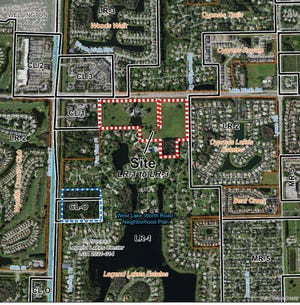 The sites outlined in red (Amber Woods) and blue (Legend Lakes Center) show two separate proposed DR Horton developments that are strongly opposed by area residents.