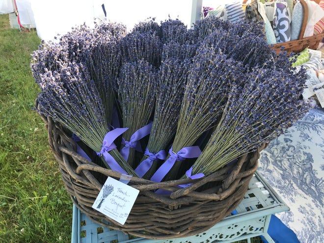"""français """"Superbleu"""" Bouquets de lavande, une partie de l'assortiment d'articles botaniques offerts par Sunny Window, Newton, Massachusetts."""