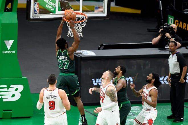 Celtics forward Semi Ojeleye (37) dunks against the Chicago Bulls during the third quarter Monday night at TD Garden, in Boston's 102-96 loss.