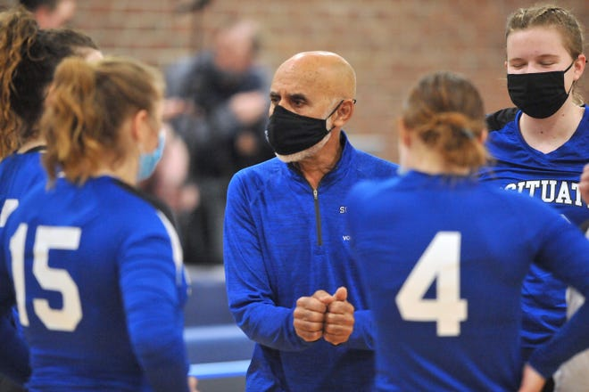 Hall of Fame coach Luis Carvalho gives directions to his Scituate girls team recently. Over the last three years, the Spartans had a combined record of 4-30; this season they are 5-2.