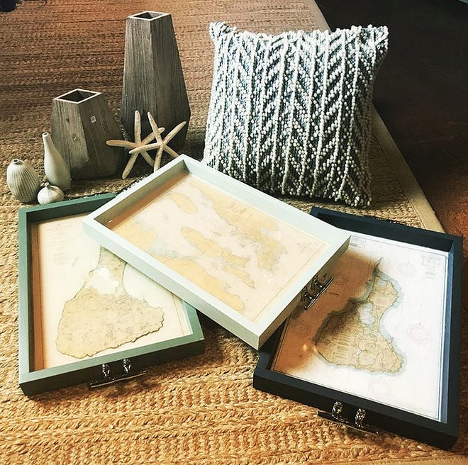 Trays, tables and coasters by North Providence-based My Mez will be among the wares at the debut May Day Market, May 1 and 2 at the WaterFire Arts Center.