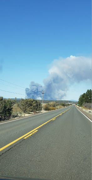 The Ponina Fire on April 18, 2021, burning about five miles north of Beatty, Ore., was visible from eastbound Hightway 140 .