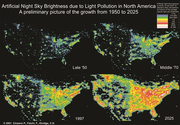 A look at the spread of light polution over time in the United States.