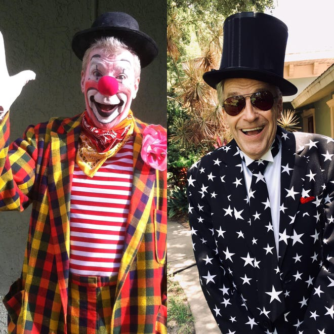 Toby Circus Ballantine in performance makeup, left, and as himself. The longtime circus performer died April 14 at the age of 71.