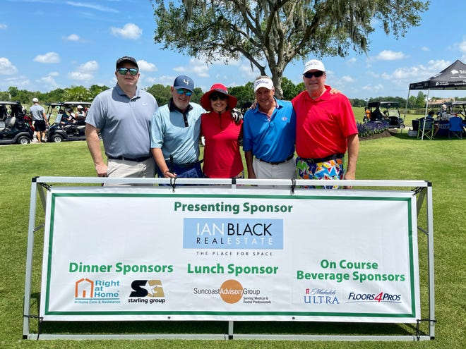 Steve Horn, left, Ian Black, Rosie Black, George Brusco and Nick DeVito II, of Ian Black Real Estate, at the Taste of First Tee Golf Outing at Laurel Oak Country Club.