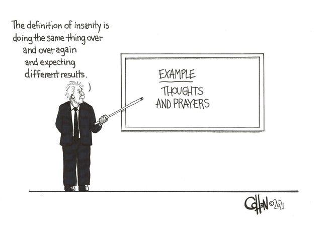 David Cohen editorial cartoon on America's reaction to mass shootings.