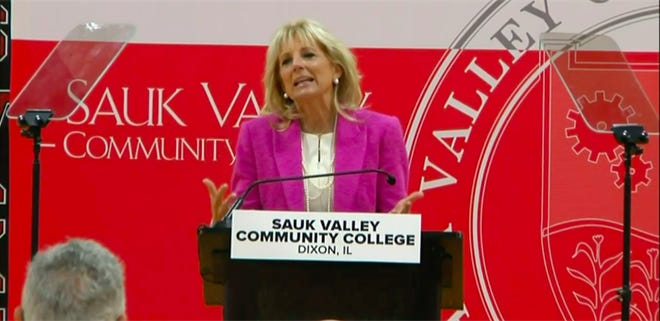 First lady Jill Biden visits Sauk Valley Community College in Dixon to discuss federal relief and investments in higher education.