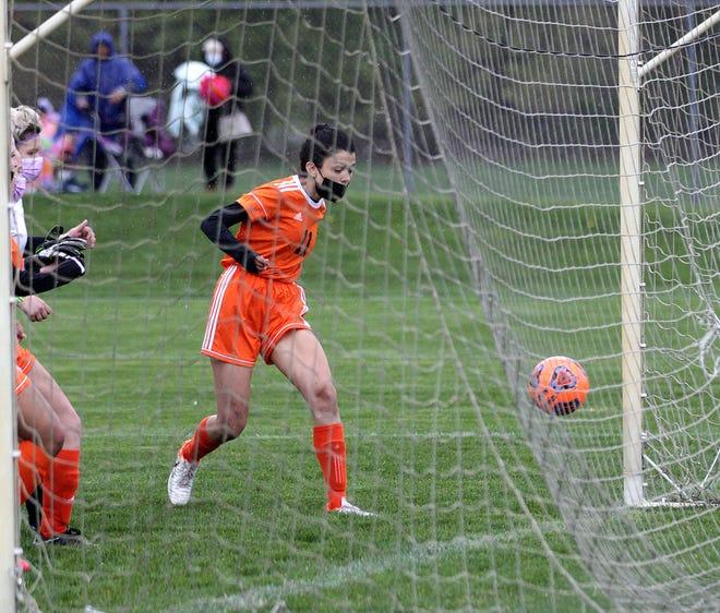 Emily Bucio scored the first Sturgis goal against Bronson on Monday evening.