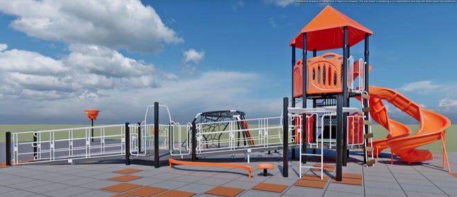 Concept drawing from Sinclair Recreation shows one of the proposed playgrounds set for construction at Wall Elementary School.