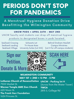 A menstrual hygiene donation drive to benefit the Wilmington community will be held Saturday, May 1 and Sunday, May 2.