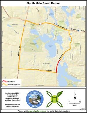 South Main Street detour map