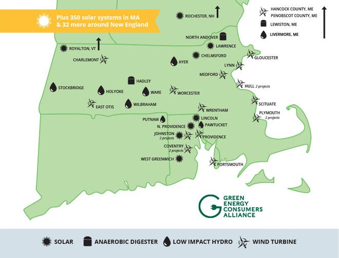 This graphic shows the local sources for the renewable energy supplied through Green Energy Consumers Alliance to the many municipalities it contracts with.