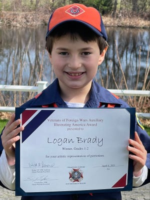 The Marshfield VFW and VFW Auxiliary Posts 8345 recently announced the winners and honorable mention recipients of the Illustrating America art contest, which was open to area students in first through eighth grade. Pictured is Logan Brady, winner of the first through second grade division.