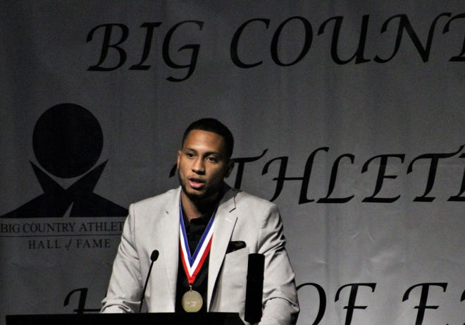Lyle Leong Jr. speaks at the Big Country Athletic Hall of Fame banquet on April 19 in Abilene. He and former Abilene High and Texas Tech quarterback Taylor Potts were inducted into the Big Country Athletic Hall of Fame as the only two members of the Hall's 2021 Class.