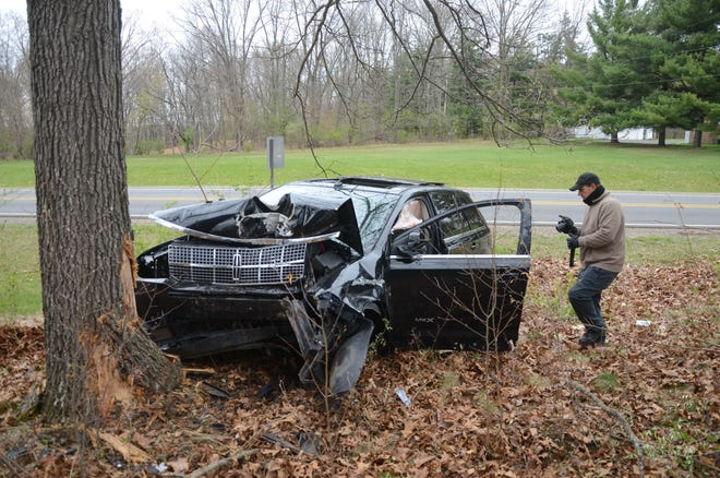 A 37-year-old Springfield man was injured when his car hit a tree after hitting another car on Verona Road in Marshall Township Tuesday.