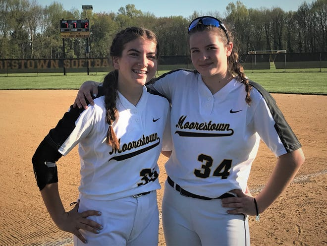 Moorestown's Kylie Llewellyn, left, and Violet Marta are the Quakers' newest power source as the freshman duo handles the battery positions.