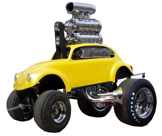 Chuck Miller's VW Zinger. These creations are model cars built to full size. Miller combines the body from a 1:43 scale plastic kit with the engine and wheels from a much larger 1:25 kit with a full-size look of exaggerated, cartoon proportions.