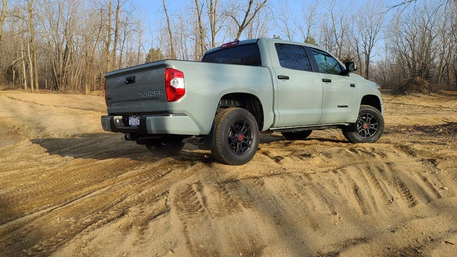 2021 Toyota Tundra TRD Pro is a light-duty pickup weighting nearly 6,000 pounds with 4WD, big Crew Max cab, and lots of ground clearance.