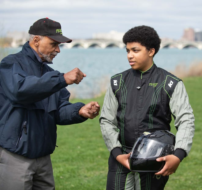 Ethan Kent, 13, (right) will participate in the NXG Youth Motorsports classroom on Belle Isle June 5-6. NXG is partnering with IndyCar to attract more minority, urban youth to motorsport. Cal Sharp (left) is a NXG instructor.