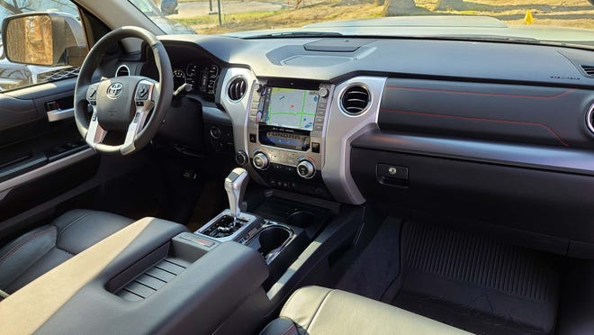 The old school interior of the 2021 Toyota Tundra TRD Pro is functional but a generation behind the fancy screens of the Detroit Three.