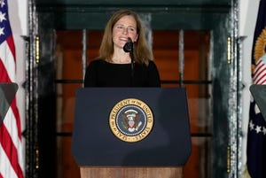 Amy Coney Barrett speaks on the South Lawn of the White House in Washington, Oct. 26, 2020.