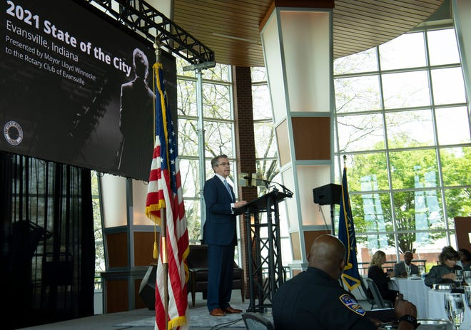 Evansville Mayor Lloyd Winnecke addresses the Rotary Club at the Tropicana Event Center for the 2021 State of the City Tuesday afternoon, April 20, 2021.