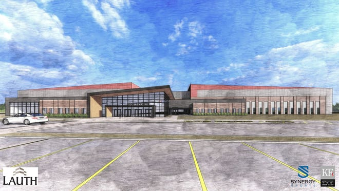 Rendering of an indoor sports complex proposed for Warrick County, near Interstate 69.