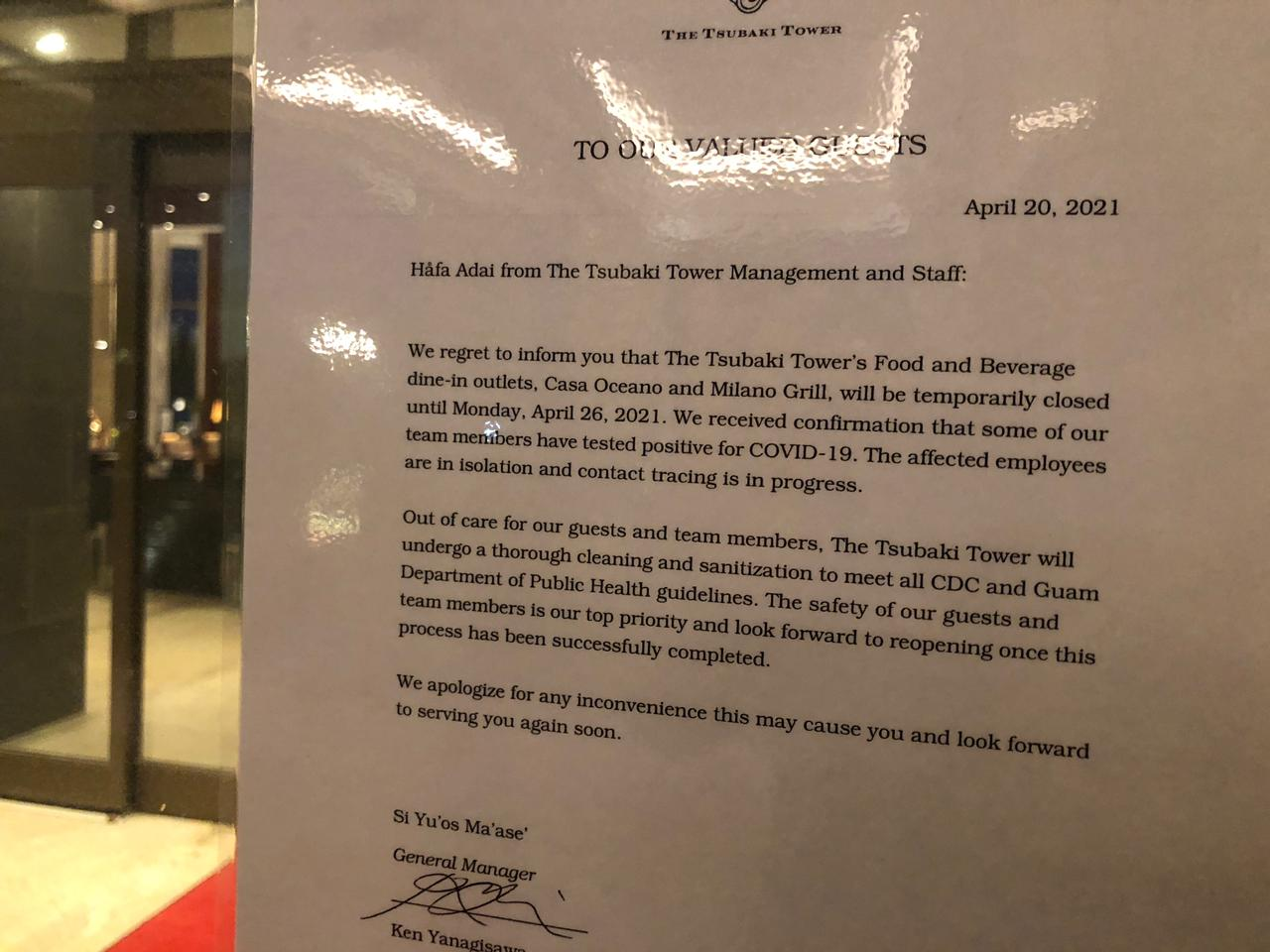 A note posted on the entrance of the Tsubaki Tower on Tuesday explains that restaurants are closed because