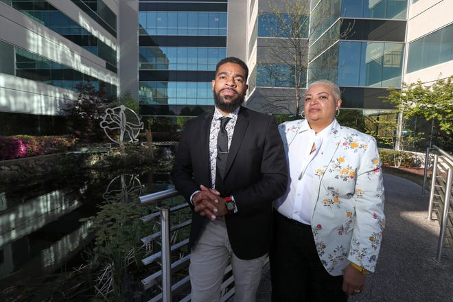 "Mother and son duo Gwen and Davin Clemons run Relationships Unleashed, a nonprofit that works ""to create social, cultural, and professional equity for members of the Black LGBTQ + community. The pair are seen here outside their new office space in Memphis, Tenn. on Monday, April 19, 2021."