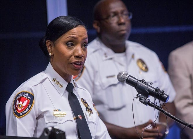 "Durham Police Chief Cerelyn ""C.J."" Davis makes a statement regarding the fatal shooting of Kamari Munerlyn, a 7-year-old boy in Durham, NC on June 5, 2017."